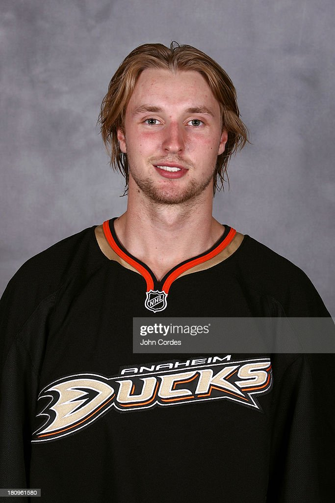Keaton Thompson of the Anaheim Ducks poses for his official headshot for the 20132014 season on July 3 2013 at Honda Center in Anaheim California