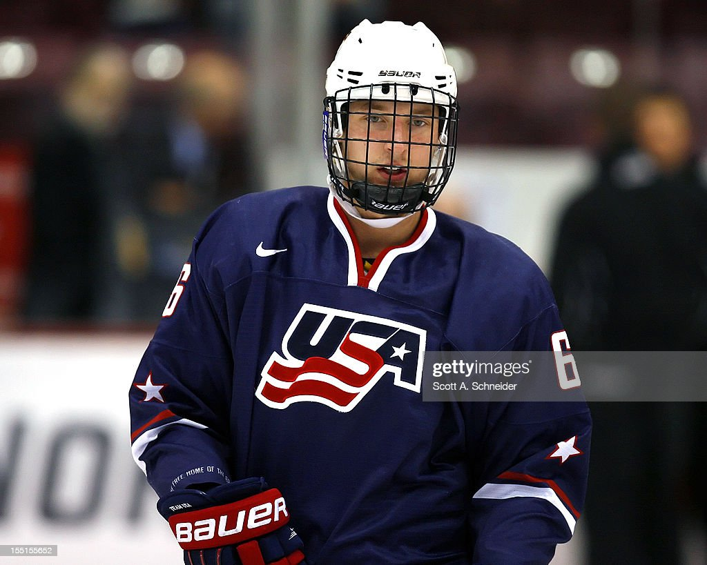 Keaton Thompson of the United States U18 team warms up before a game with the University of Minnesota October 26 2012 at Mariucci Arena in...