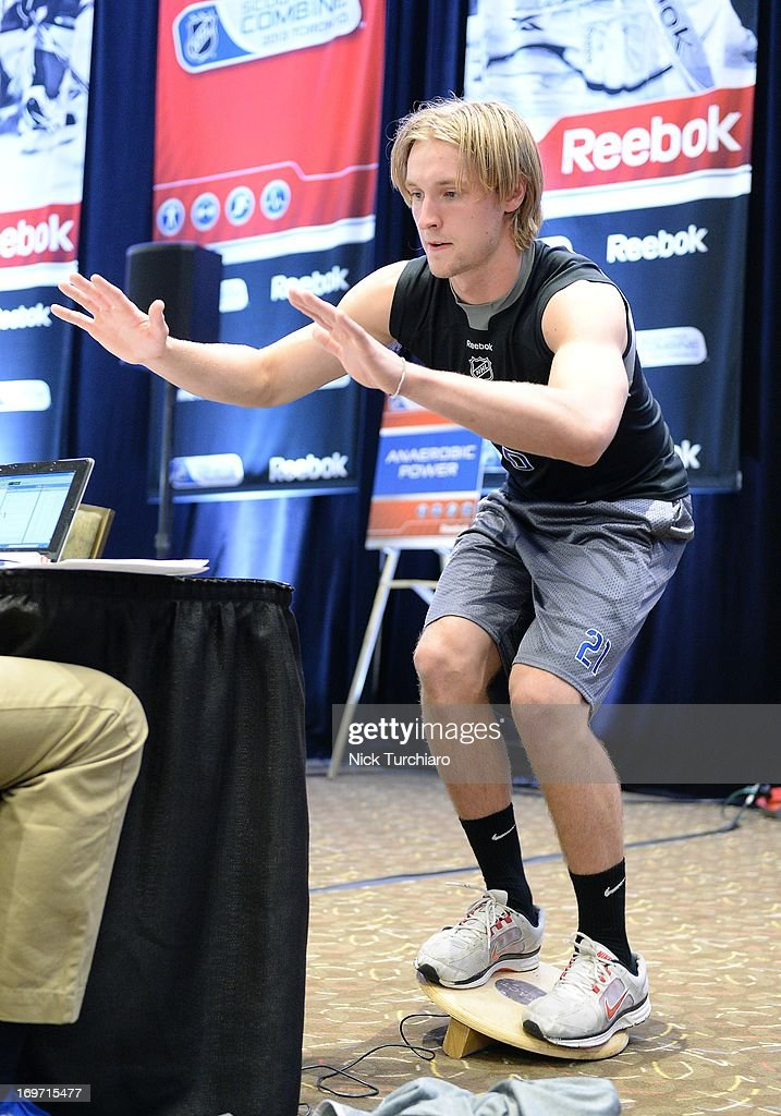 Keaton Thompson takes part in the 2013 NHL Combine May 31 2013 at the International Centre in Toronto Ontario Canada