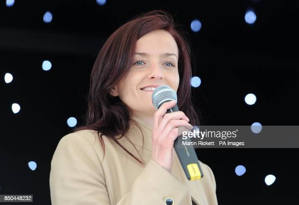 Keavy Lynch from B*witched on stage at the Everton Roadshow at Goodison Park
