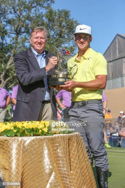 Kebin Chappell receives the trophy after winning the Valero Texas Open at the TPC San Antonio Oaks Course in San Antonio TX on April 23 2017