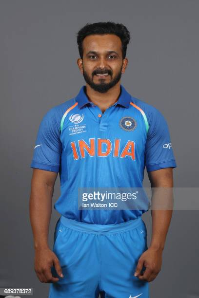 Kedar Jadhav of India poses during an India Portrait Session ahead of ICC Champions Trophy at Grange City on May 27 2017 in London England