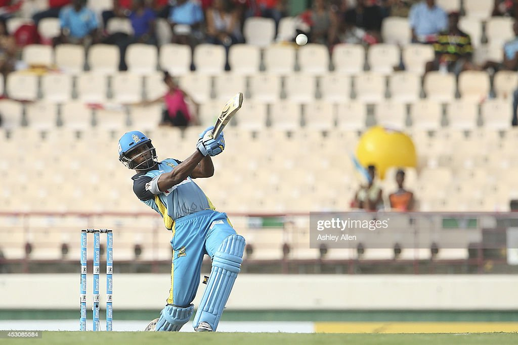 Keddy Lesporis of St. Lucia Zouks bats during a match between St. Lucia Zouks and The Trinidad and Tobago Red Steel as part of week 4 of the Limacol Caribbean Premier League 2014 at Beausejour Stadium on August 02, 2014 in Castries, St. Lucia.