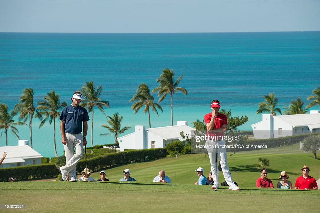 Keegan Bradley (R) and Bubba Watson of the US look on during the final round of play at The Port Royal Golf Club for the 30th Grand Slam of Golf on October, 24, 2012 in Southampton, Bermuda.
