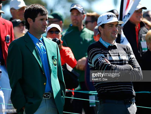 Keegan Bradley and former Masters champion Bubba Watson watch the putting competition during the Drive Chip and Putt Championship at Augusta National...
