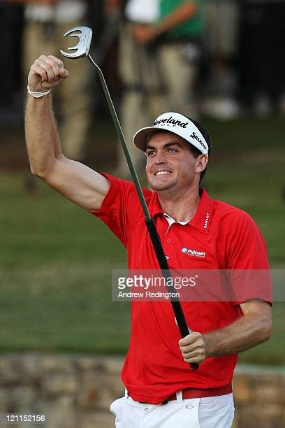 Keegan Bradley celebrates his victory over Jason Dufner during a threehole playoff during the final round of the 93rd PGA Championship at the Atlanta...