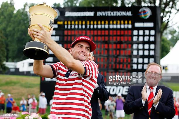 Keegan Bradley celebrates with the Gary Player Cup during the trophy presentation after winning the World Golf ChampionshipsBridgestone Invitational...