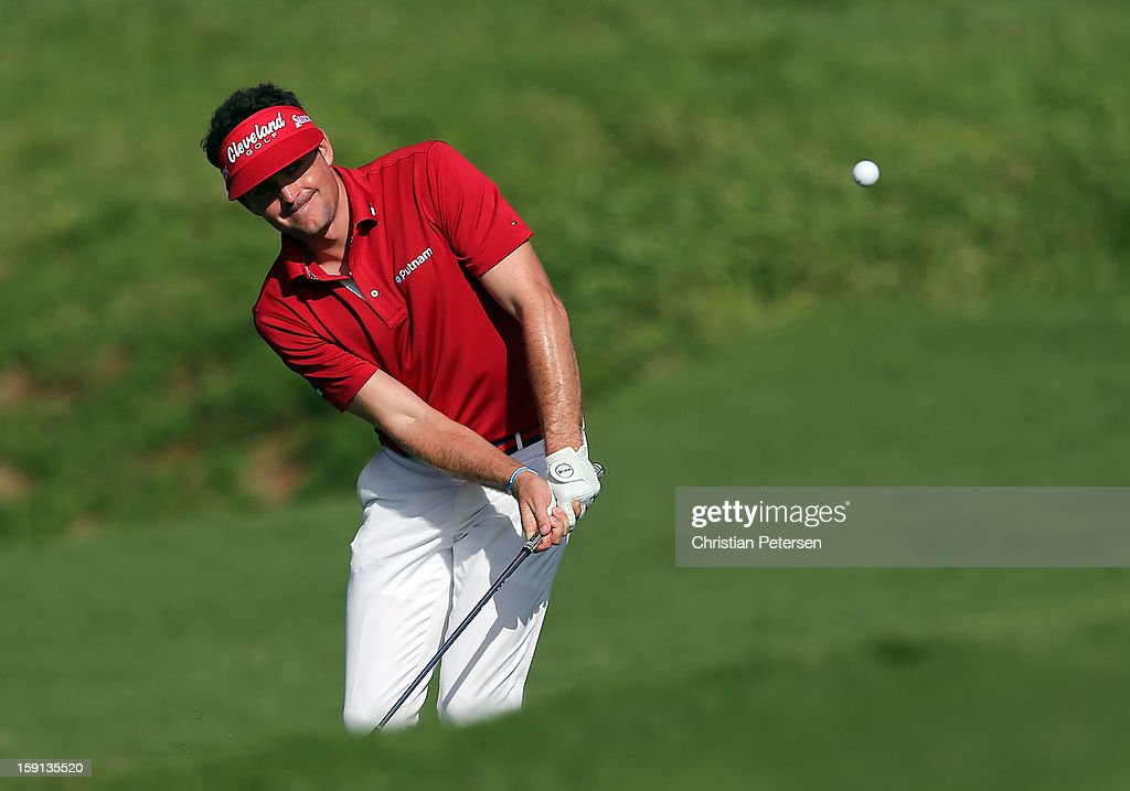 Keegan Bradley chips onto the ninth hole green during the final round of the Hyundai Tournament of Champions at the Plantation Course on January 8, 2013 in Kapalua, Hawaii.
