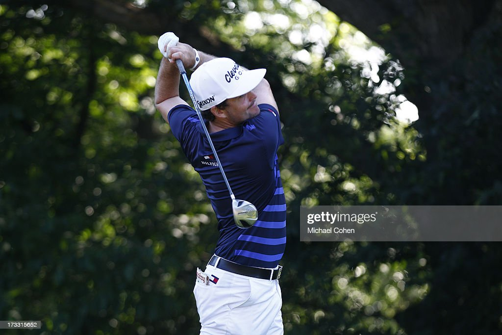 <a gi-track='captionPersonalityLinkClicked' href=/galleries/search?phrase=Keegan+Bradley&family=editorial&specificpeople=6388440 ng-click='$event.stopPropagation()'>Keegan Bradley</a> hits a drive during the first round of the John Deere Classic held at TPC Deere Run on July 11, 2013 in Silvis, Illinois.