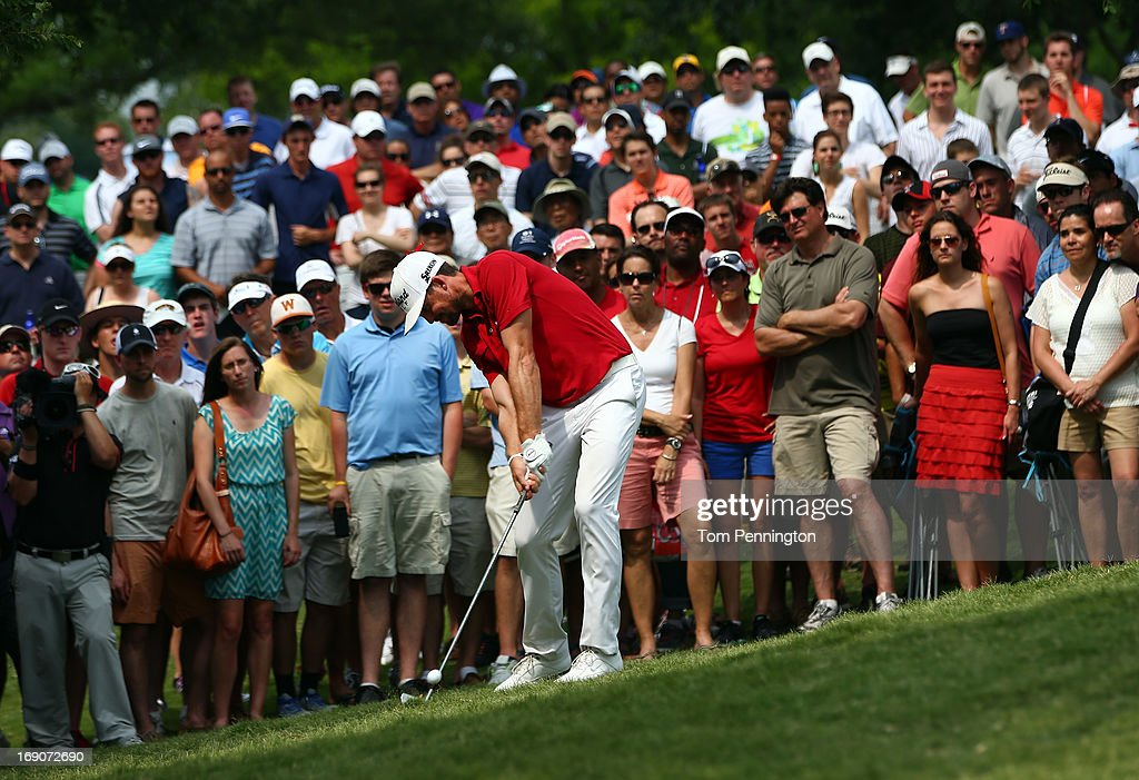 <a gi-track='captionPersonalityLinkClicked' href=/galleries/search?phrase=Keegan+Bradley&family=editorial&specificpeople=6388440 ng-click='$event.stopPropagation()'>Keegan Bradley</a> hits a shot during the final round of the 2013 HP Byron Nelson Championship at the TPC Four Seasons Resort on May 19, 2013 in Irving, Texas.