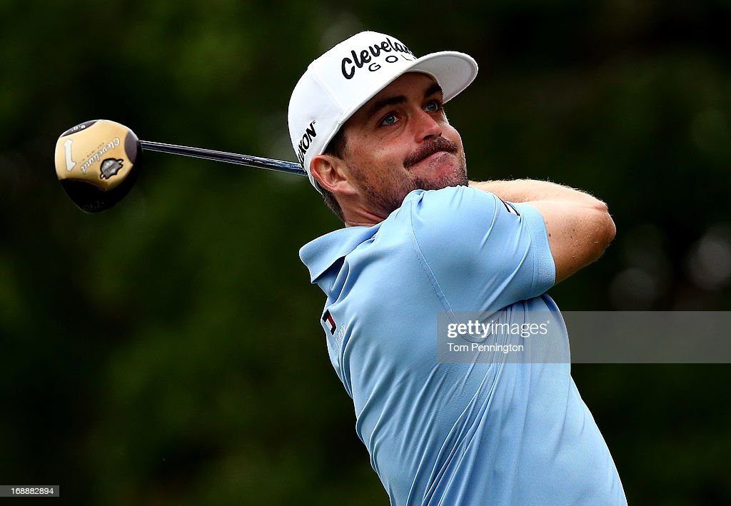 Keegan Bradley hits a shot during the first round of the 2013 HP Byron Nelson Championship on May 16, 2013 in Irving, Texas.