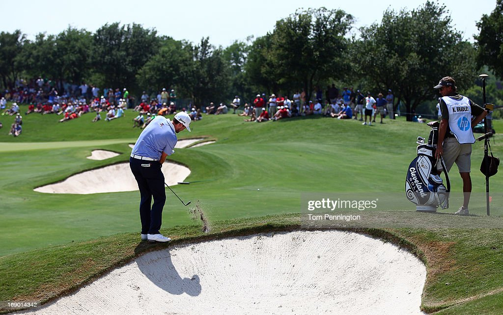 <a gi-track='captionPersonalityLinkClicked' href=/galleries/search?phrase=Keegan+Bradley&family=editorial&specificpeople=6388440 ng-click='$event.stopPropagation()'>Keegan Bradley</a> hits a shot during the third round of the 2013 HP Byron Nelson Championship at the TPC Four Seasons Resort on May 18, 2013 in Irving, Texas.