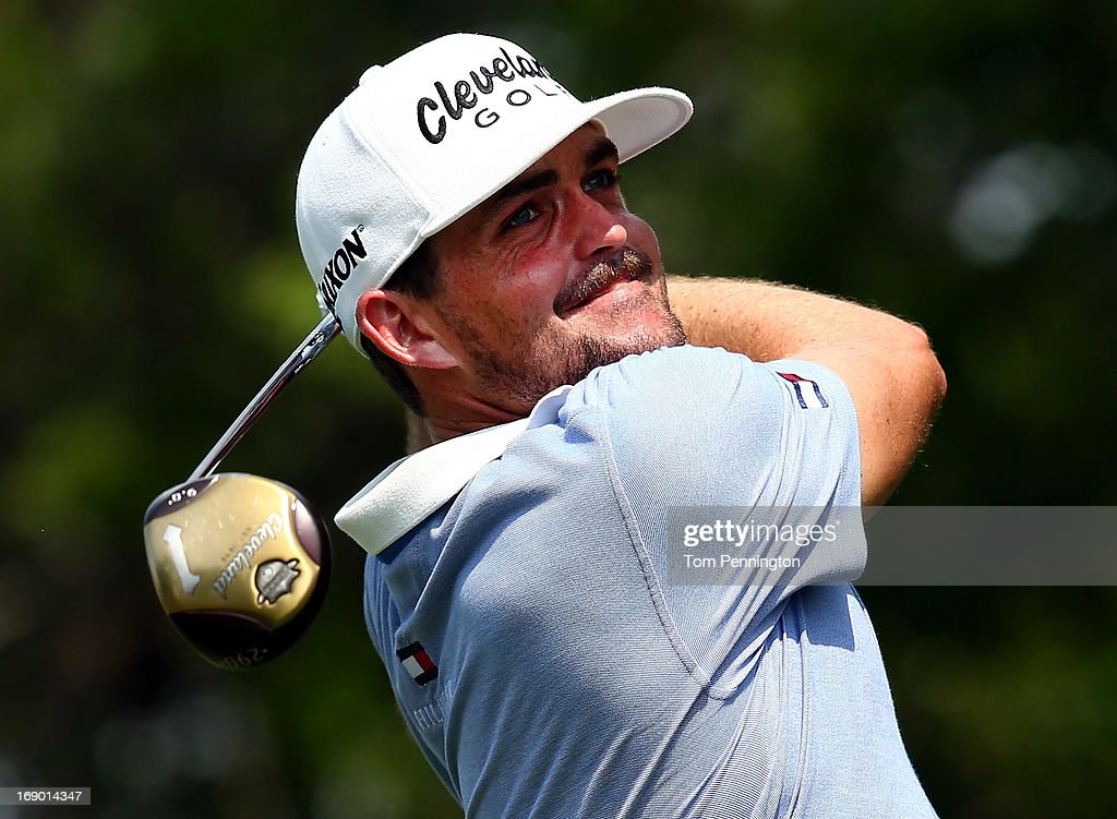 Keegan Bradley hits a shot during the third round of the 2013 HP Byron Nelson Championship at the TPC Four Seasons Resort on May 18, 2013 in Irving, Texas.