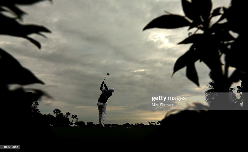 Keegan Bradley hits his tee shot on the 14th hole during the second round of the Honda Classic at PGA National Resort and Spa on March 1, 2013 in Palm Beach Gardens, Florida.