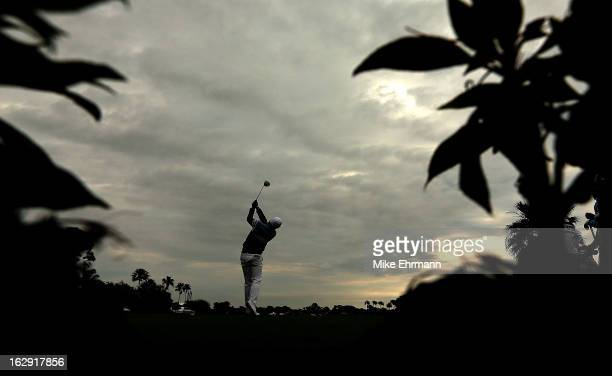 Keegan Bradley hits his tee shot on the 14th hole during the second round of the Honda Classic at PGA National Resort and Spa on March 1 2013 in Palm...