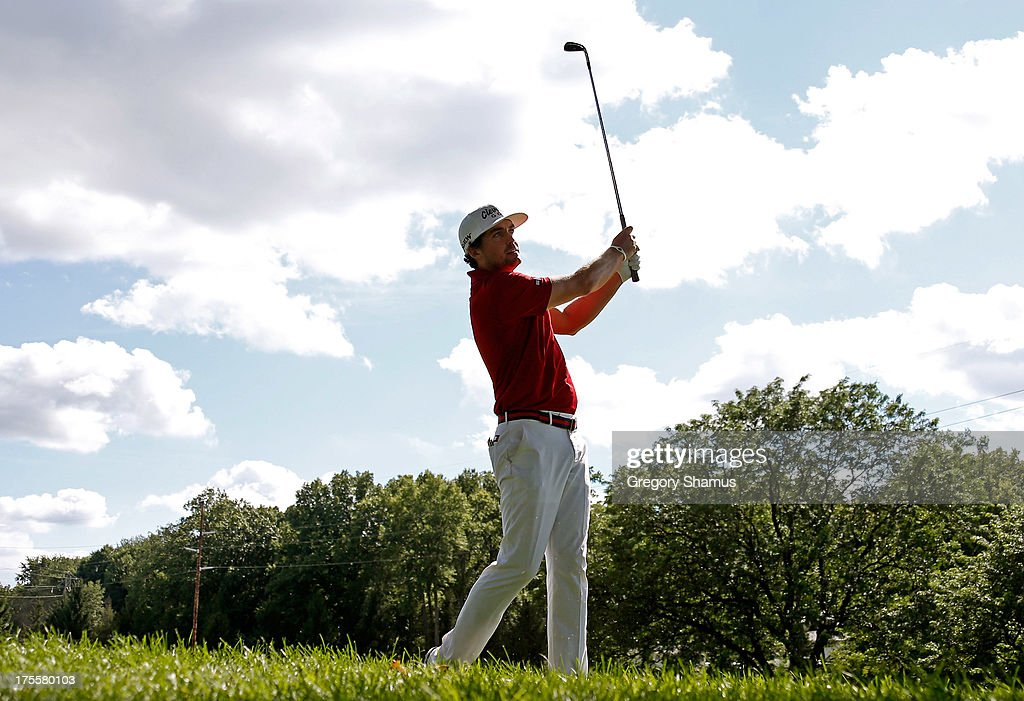 Keegan Bradley hits off the 16th fairway during the Final Round of the World Golf Championships-Bridgestone Invitational at Firestone Country Club South Course on August 4, 2013 in Akron, Ohio.