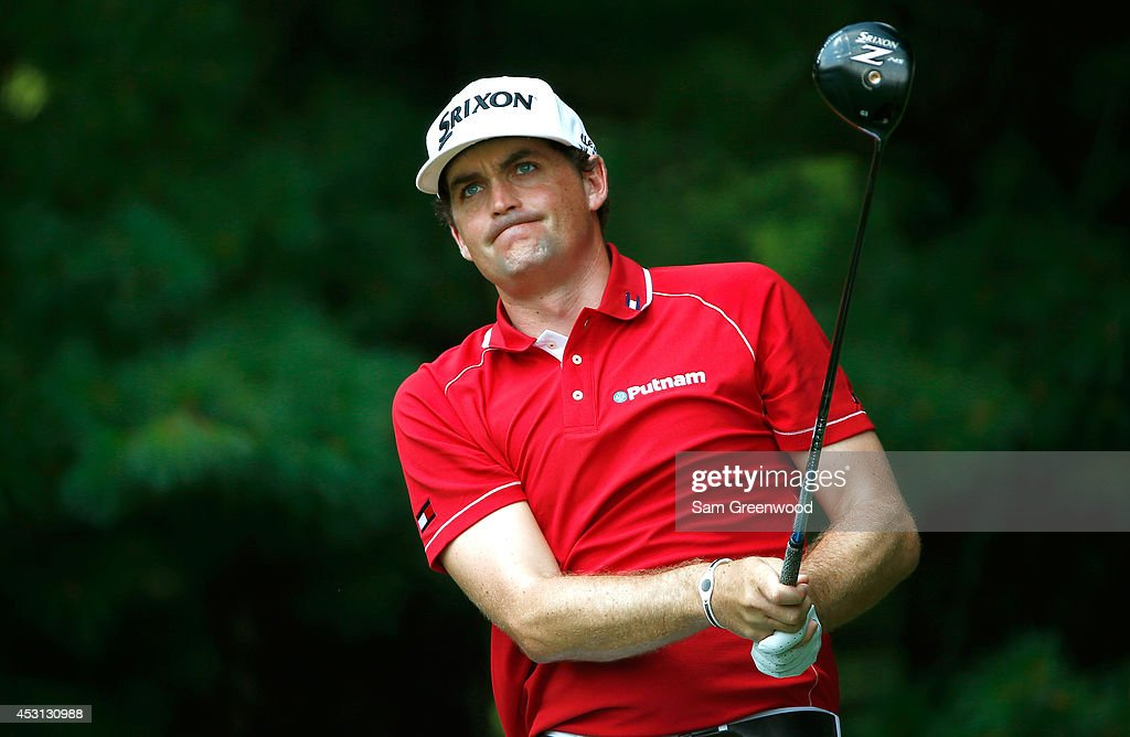 Keegan Bradley hits off the second tee during the final round of the World Golf Championships-Bridgestone Invitational at Firestone Country Club South Course on August 3, 2014 in Akron, Ohio.