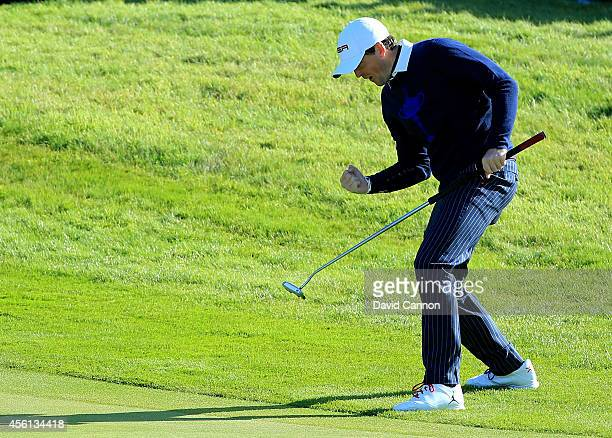 Keegan Bradley of the United States celebrates during the Morning Fourballs of the 2014 Ryder Cup on the PGA Centenary course at the Gleneagles Hotel...