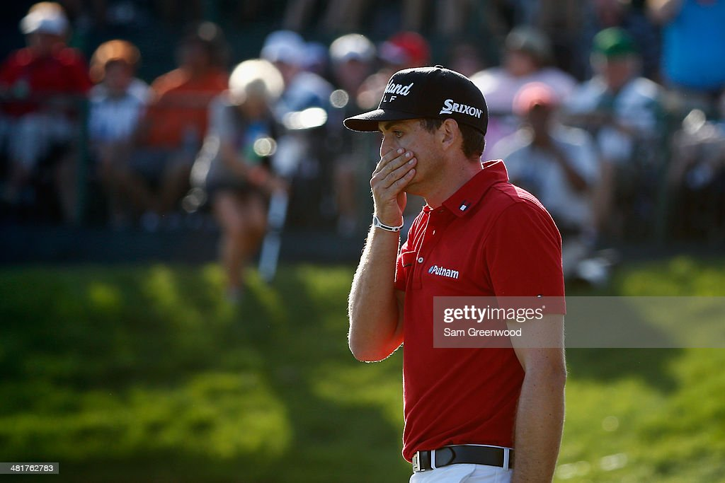 <a gi-track='captionPersonalityLinkClicked' href=/galleries/search?phrase=Keegan+Bradley&family=editorial&specificpeople=6388440 ng-click='$event.stopPropagation()'>Keegan Bradley</a> of the United States reacts during the final round of the Arnold Palmer Invitational presented by MasterCard at the Bay Hill Club and Lodge on March 23, 2014 in Orlando, Florida.