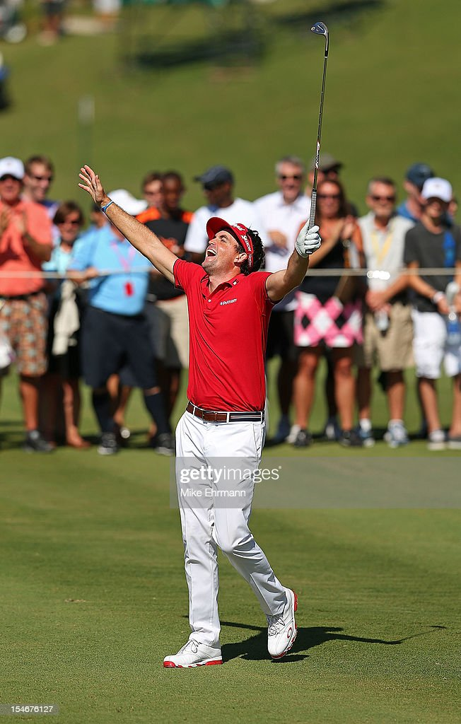 Keegan Bradley of the United States reacts to holing out for eagle on the 14th hole during the final round of the PGA Grand Slam of Golf at Port Royal Golf Course on October 24, 2012 in Southampton, Bermuda.