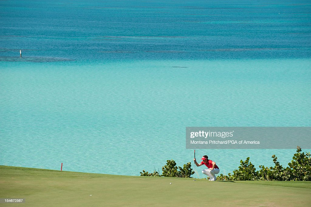 Keegan Bradley of the US lines up his putt during the final round of play at The Port Royal Golf Club for the 30th Grand Slam of Golf on October, 24, 2012 in Southampton, Bermuda.