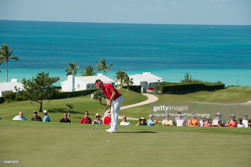 Keegan Bradley of the US makes his putt during the final round of play at The Port Royal Golf Club for the 30th Grand Slam of Golf on October, 24, 2012 in Southampton, Bermuda.