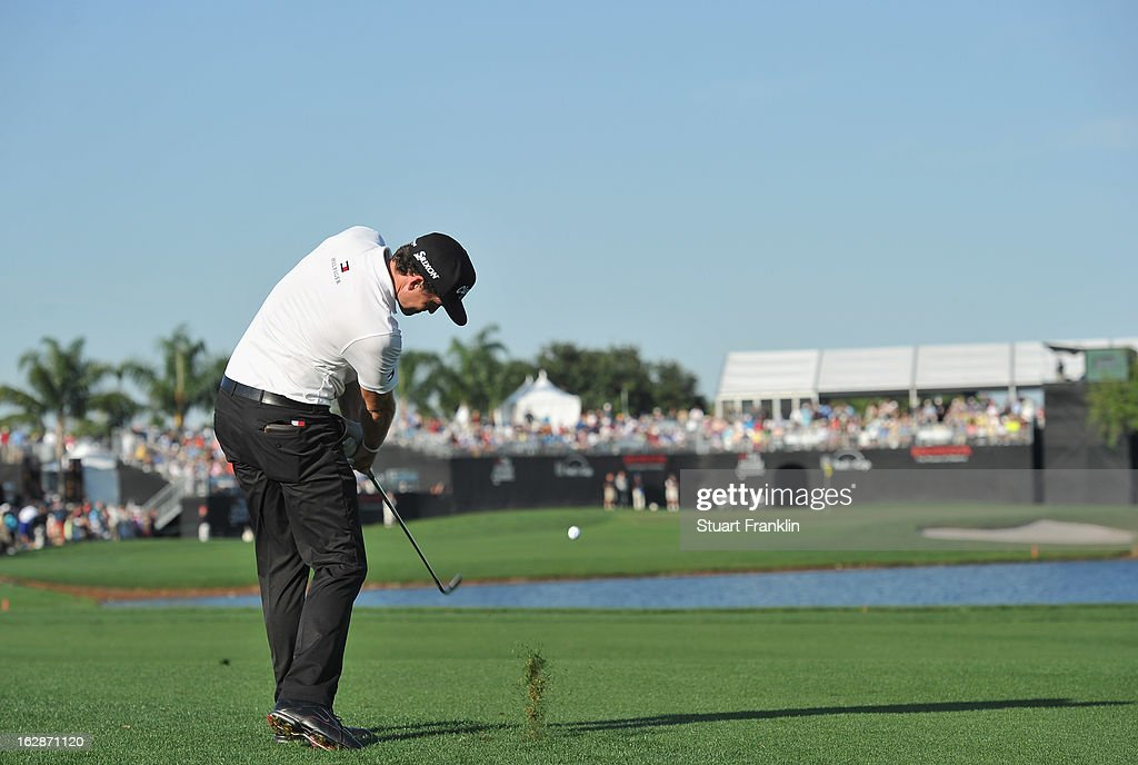 Keegan Bradley of USA plays a shot on the 16th hole during the first round of the Honda Classic on February 28, 2013 in Palm Beach Gardens, Florida.