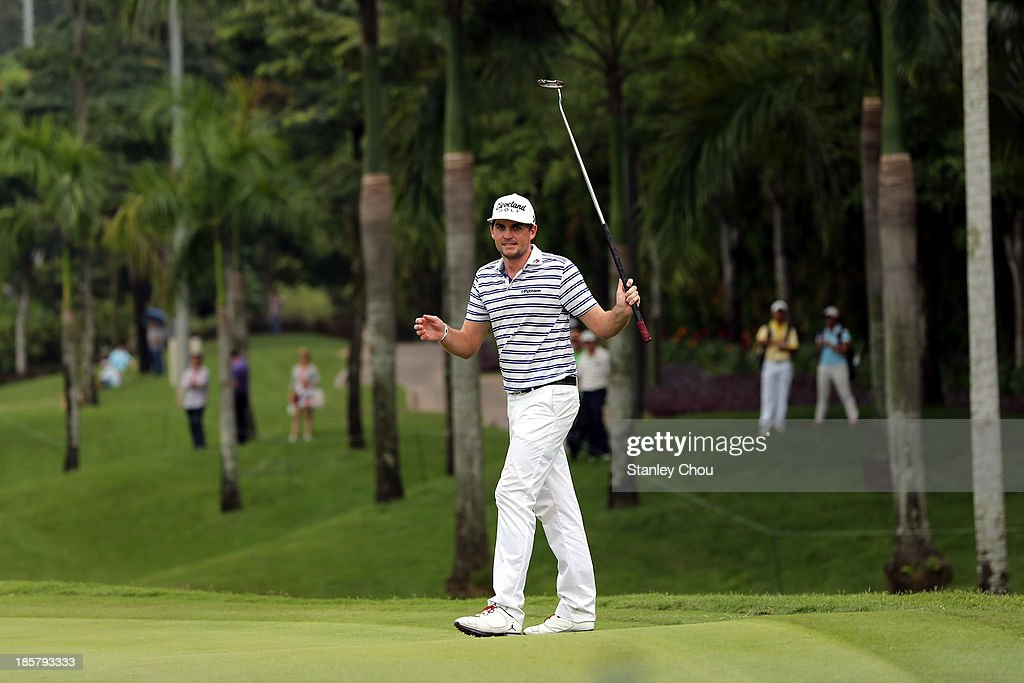 Keegan Bradley of USA reacts after missing a birdie on the 18th hole during round two of the CIMB Classic at Kuala Lumpur Golf & Country Club on October 25, 2013 in Kuala Lumpur, Malaysia.