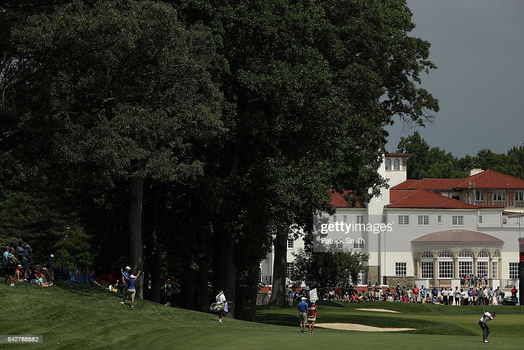 <a gi-track='captionPersonalityLinkClicked' href=/galleries/search?phrase=Keegan+Bradley&family=editorial&specificpeople=6388440 ng-click='$event.stopPropagation()'>Keegan Bradley</a> plays a shot on the ninth hole during the second round of the Quicken Loans National at Congressional Country Club on June 24, 2016 in Bethesda, Maryland.