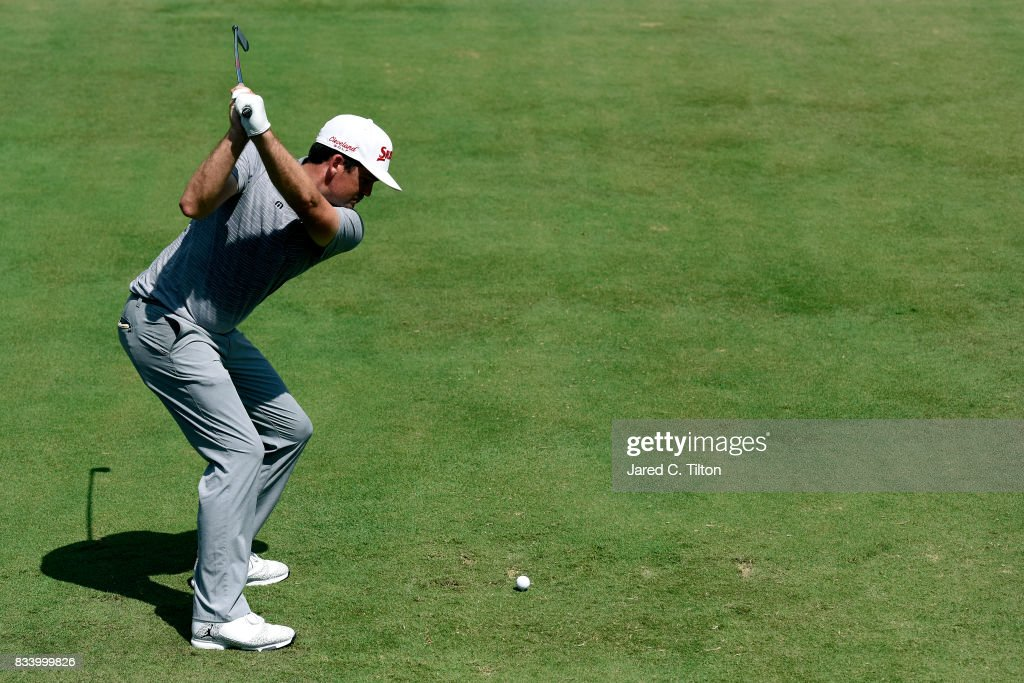 Keegan Bradley plays his tee shot on the 10th hole during the first round of the Wyndham Championship at Sedgefield Country Club on August 17, 2017 in Greensboro, North Carolina.