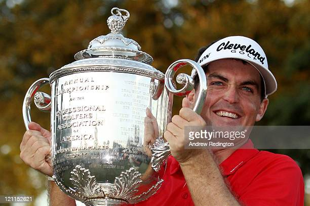 Keegan Bradley poses with the Wanamaker Trophy after winning a threehole playoff over Jason Dufner during the final round of the 93rd PGA...