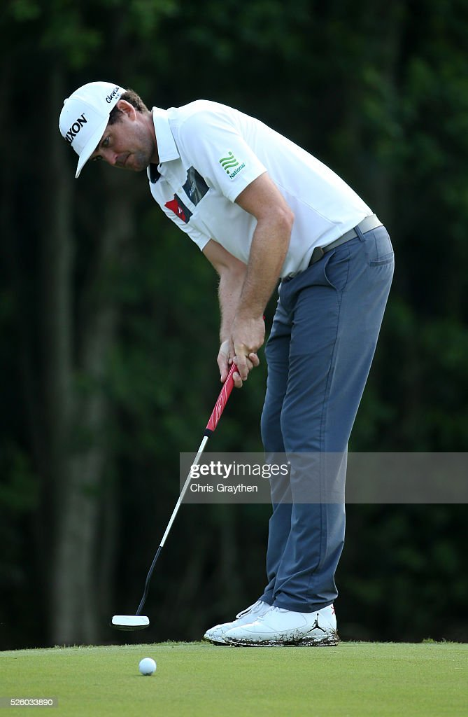 Keegan Bradley putts on the 10th hole during a continuation of the first round of the Zurich Classic of New Orleans at TPC Louisiana on April 29, 2016 in Avondale, Louisiana.