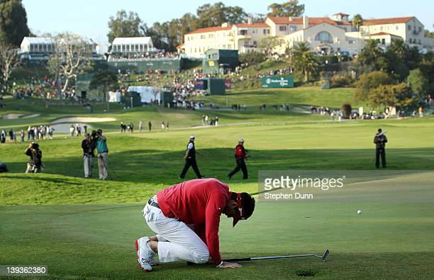 Keegan Bradley reacts after his birdie putt attempt on the second playoff hole missed to give the victory to Bill Haas the final round of the...