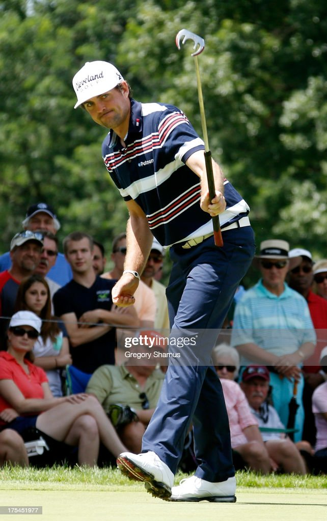 <a gi-track='captionPersonalityLinkClicked' href=/galleries/search?phrase=Keegan+Bradley&family=editorial&specificpeople=6388440 ng-click='$event.stopPropagation()'>Keegan Bradley</a> reacts to an eagle putt on the second green during the Third Round of the World Golf Championships-Bridgestone Invitational at Firestone Country Club South Course on August 3, 2013 in Akron, Ohio.