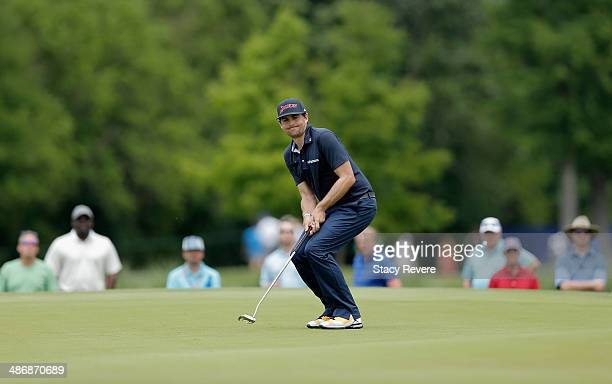 Keegan Bradley reacts to his putt on the 7th during Round Three of the Zurich Classic of New Orleans at TPC Louisiana on April 26 2014 in Avondale...
