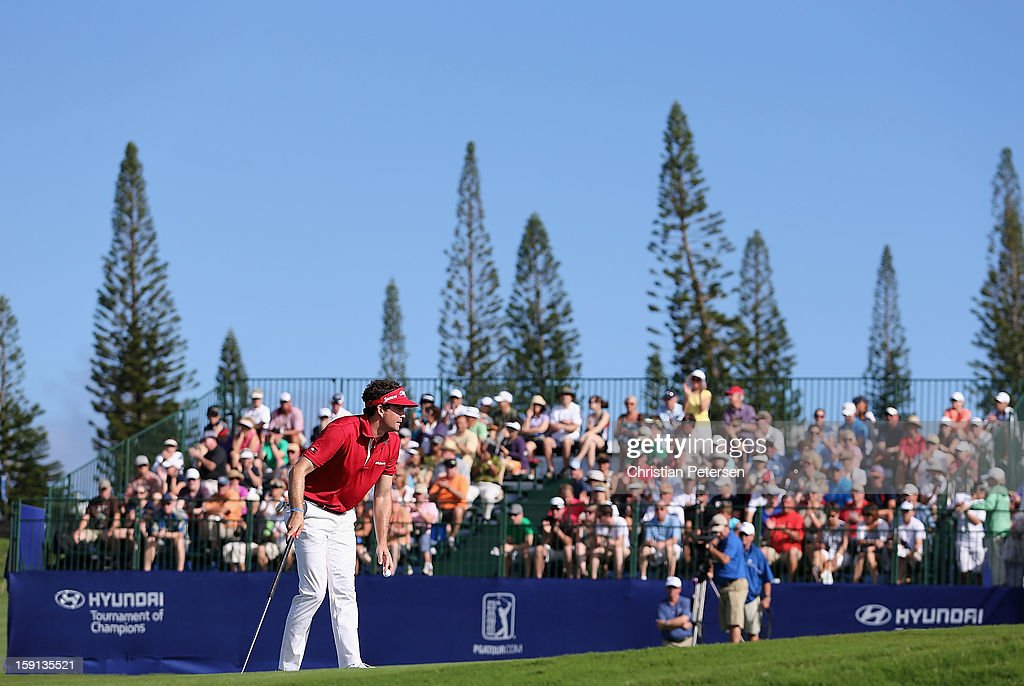 Keegan Bradley reacts to the fans after making a birdie putt on the ninth hole green during the final round of the Hyundai Tournament of Champions at the Plantation Course on January 8, 2013 in Kapalua, Hawaii.