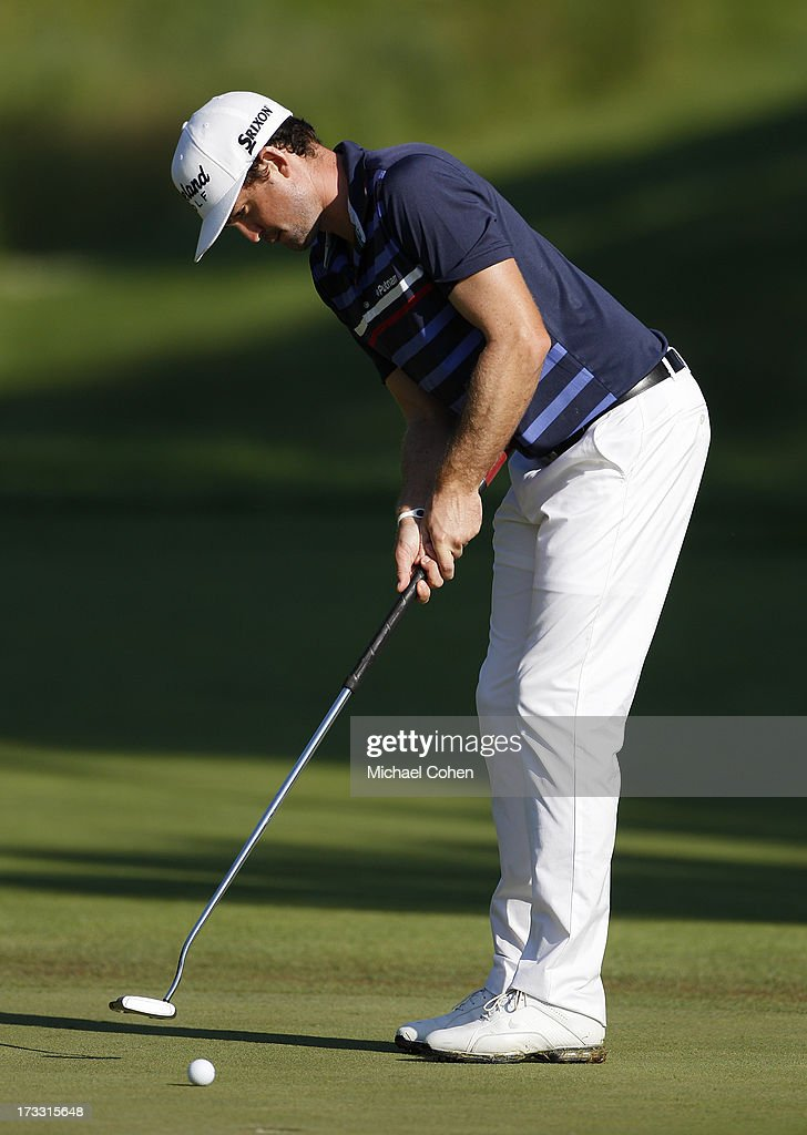 <a gi-track='captionPersonalityLinkClicked' href=/galleries/search?phrase=Keegan+Bradley&family=editorial&specificpeople=6388440 ng-click='$event.stopPropagation()'>Keegan Bradley</a> strokes a putt during the first round of the John Deere Classic held at TPC Deere Run on July 11, 2013 in Silvis, Illinois.