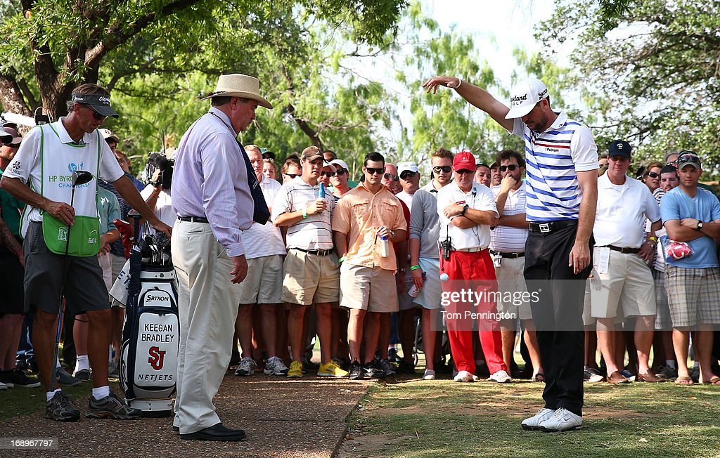 <a gi-track='captionPersonalityLinkClicked' href=/galleries/search?phrase=Keegan+Bradley&family=editorial&specificpeople=6388440 ng-click='$event.stopPropagation()'>Keegan Bradley</a> takes a drop as a rules official looks on during the second round of the 2013 HP Byron Nelson Championship at the TPC Four Seasons Resort on May 17, 2013 in Irving, Texas.