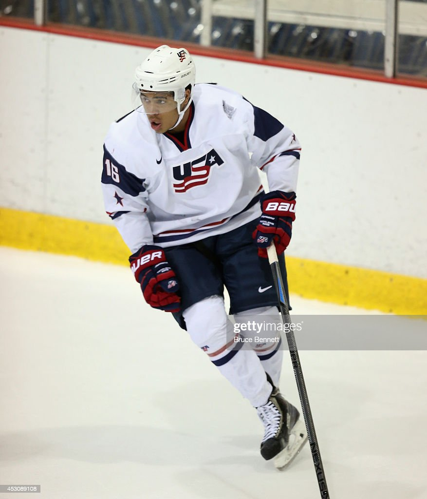<a gi-track='captionPersonalityLinkClicked' href=/galleries/search?phrase=Keegan+Iverson&family=editorial&specificpeople=12776070 ng-click='$event.stopPropagation()'>Keegan Iverson</a> #16 of USA White skates against USA Blue during the 2014 USA Hockey Junior Evaluation Camp at Lake Placid Olympic Center on August 2, 2014 in Lake Placid, New York.
