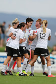 Keelin Winters of Western Sydney is congratulated by teammates after she scored a goal from the penalty spot during the round 11 WLeague match...