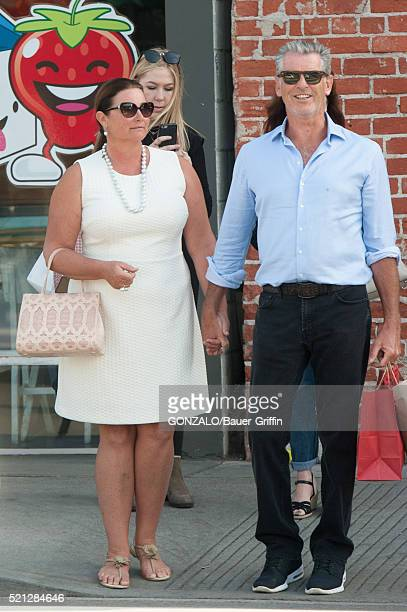 Keely Shaye Smith and Pierce Brosnan are seen on April 14 2016 in Los Angeles California