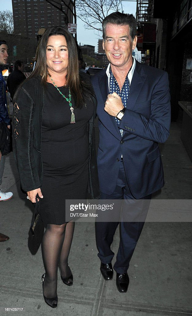 Keely Shaye Smith and Pierce Brosnan as seen on April 24, 2013 in New York City.