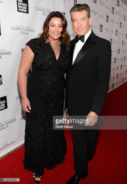 Keely Shaye Smith and Pierce Brosnan attend the 40th Anniversary Chaplin Award Gala at Avery Fisher Hall at Lincoln Center for the Performing Arts on...