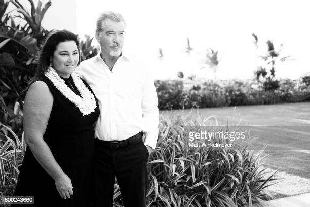 Keely Shaye Smith and Pierce Brosnan recipient of the Pathfinder Award pose for a portrait during day three of the 2017 Maui Film Festival At Wailea...