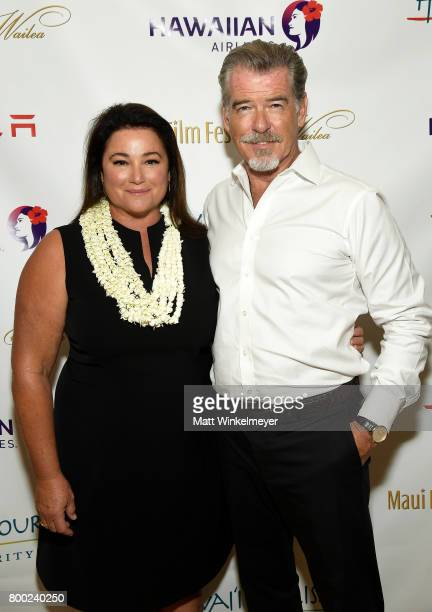 Keely Shaye Smith and Pierce Brosnan recipient of the Pathfinder Award attend day three of the 2017 Maui Film Festival At Wailea on June 23 2017 in...