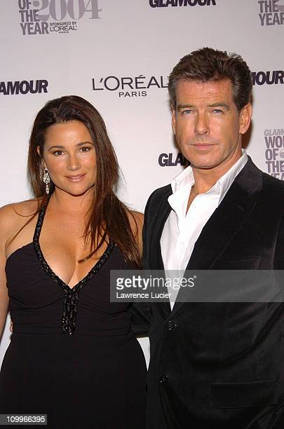 Keely ShayeSmith and Pierce Brosnan during Glamour Magazine Salutes The 2004 Women of the Year Arrivals at American Museum of Natural History in New...