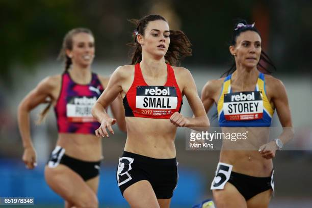 Keely Small of ACT gets past Anneliese Rubie of Victoria and Lora Storey of NSW to win the Women800m A Final during the SUMMERofATHS Grand Prix on...