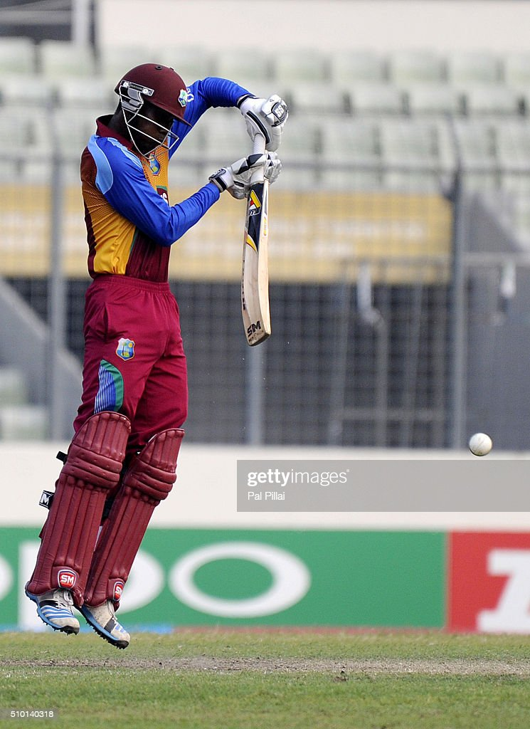 Keemo Paul of West Indies U19 bats during the ICC U19 World Cup Final Match between India and West Indies on February 14, 2016 in Dhaka, Bangladesh.