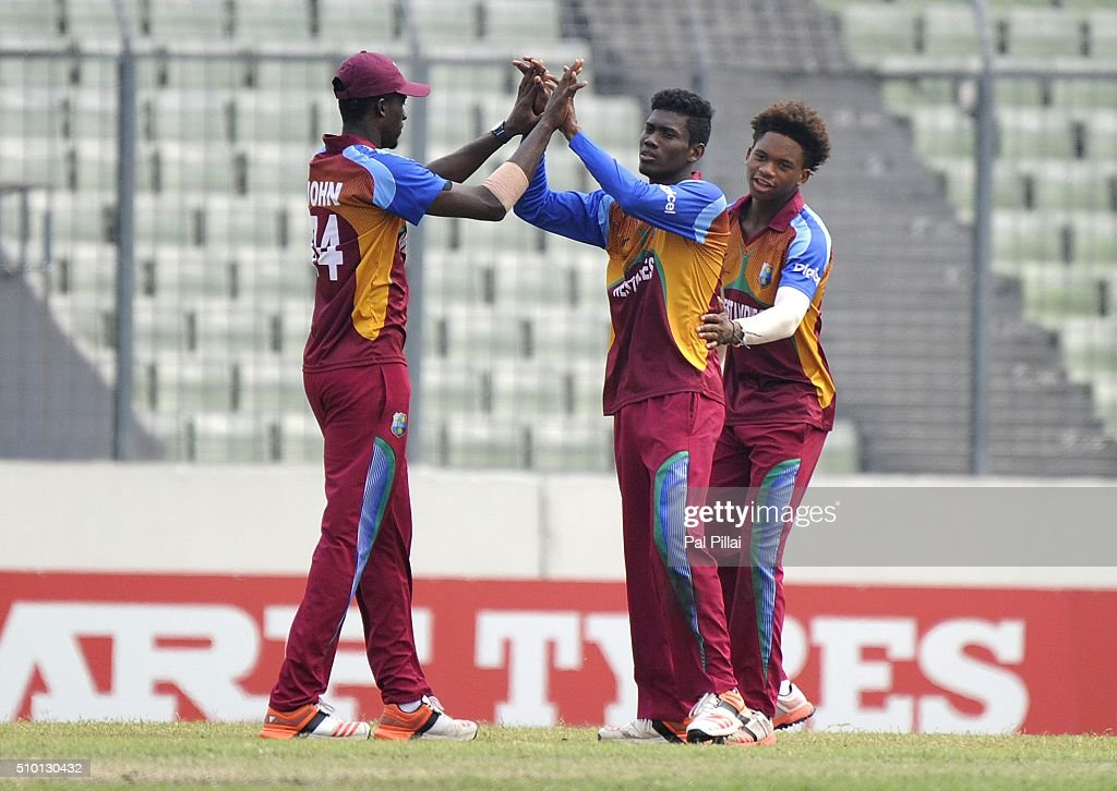 Keemo Paul of West Indies U19 celebrates the wicket of Avesh Khan of India U19 during the ICC U19 World Cup Final Match between India and West Indies on February 14, 2016 in Dhaka, Bangladesh.