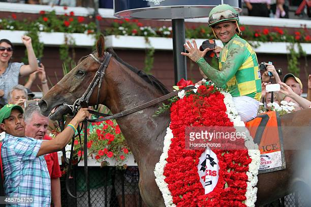 Keen Ice with Javier Castellano up defeats American Pharoah to win the 146th Travers Stakes for trainer Dale Romans on August 29 2015 at Saratoga...